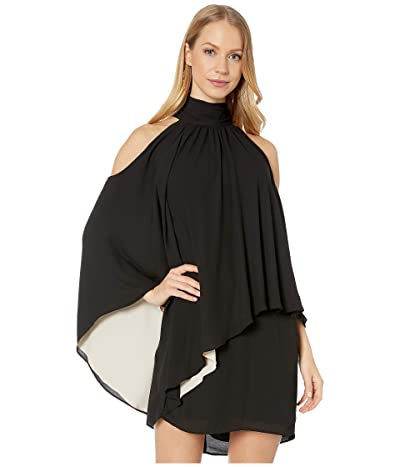 Halston Mock Neck Dress (Black/Champagne) Women