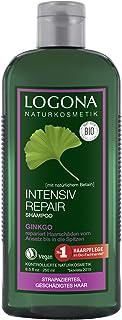 LOGONA Naturkosmetik Intensiv Repair Shampoo Ginkgo, Repariert Haarschäden für leichte Kämmbarkeit, Mit Bio-Pflanzenextrakten & Betain, 250ml