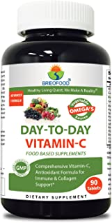 Brieofood Vitamin C 1000 mg 90 Tablets, Food Based daily Vitamin C supplement made with Vegetable Source Omegas, probiotics and herbal blends