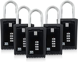Key Lock Box LB-003 - Hide a Key Outside for Your House - Realtor, Spare Key, Contractor, Rental, Key Storage - Lockbox Combination Shackle Fence Mount, Door Knob Mount (5 Pack.)