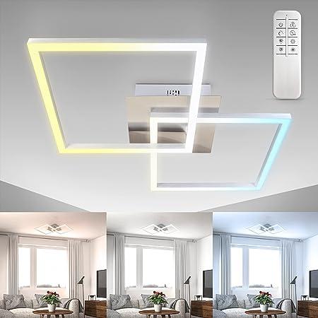 B.K.Licht, plafonnier LED, platine LED 27W, contrôle de la température de couleur CCT : blanc chaud/neutre/froid 3000 à 6500K, graduable, pivotant, minuterie, veilleuse, télécommande