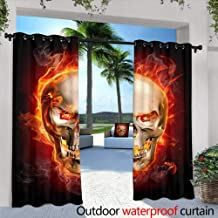 Outdoor Privacy Curtain for Pergola, in Blaze Over The City at Night,W108 x L84 Outdoor Patio Curtains Waterproof with Grommets
