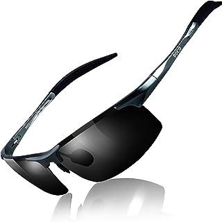 Duco Lunettes de soleil homme Lunettes de sport polarisées - Lunettes de conduite avec monture en métal Incassable - 100% ...