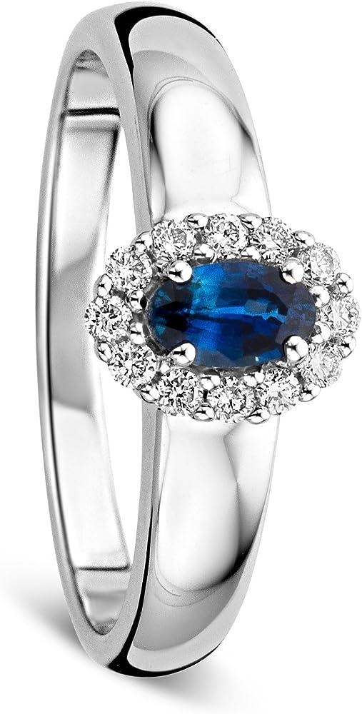 Orovi anello donna in oro bianco con zaffiro e diamanti ct 0.15 e zaffiro blu ovale ct 0.35 oro 9 kt( 2.9 gr) OR81046R52