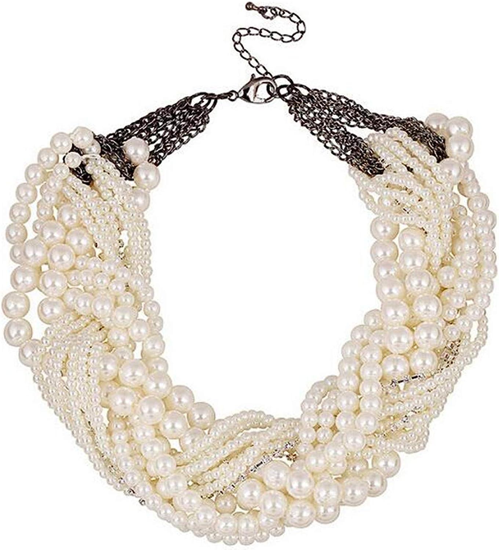wiipujewelry Wiipu Twist torsade Multiple Layers Choker Collar Resin Pearl Necklace(A1432)
