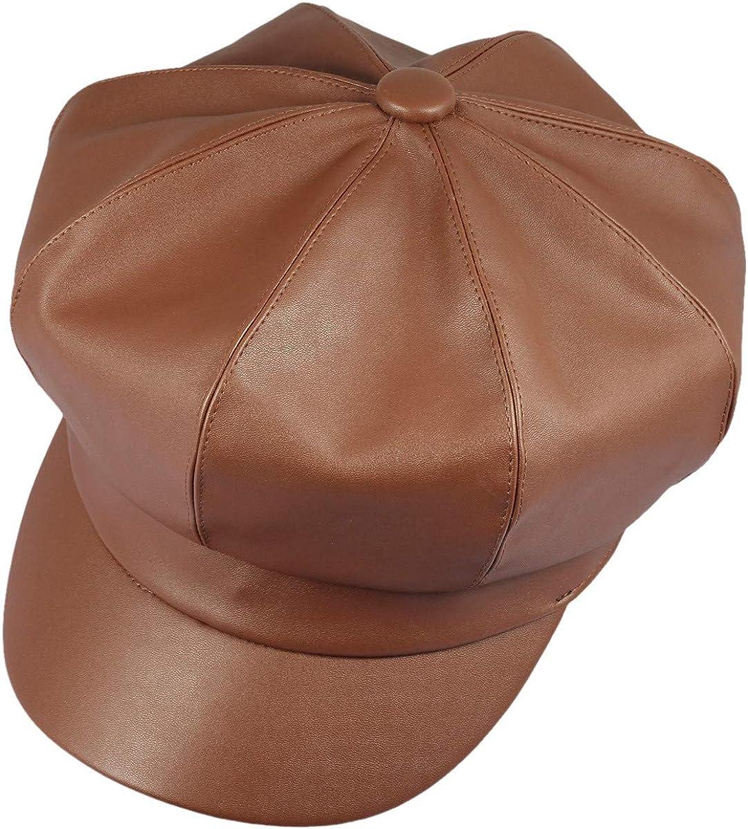KYEYGWO Beret Hats for Women PU Leather Baker Hat Newsboy Cabbie Cap Peaker Winter Hats for Ladies