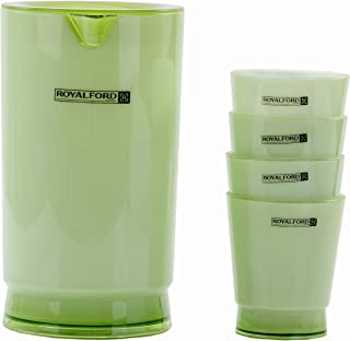 Royalford Plastic Water Jug with Glasses   BPA Free 2L Water Pitcher Jug with 4 Cups (5 Pcs)   300ml Capacity 4 Cups   Per...