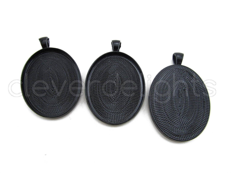 CleverDelights 5 Pk 30x40mm Oval Pendant Trays - Dark Black Color - Blank Cameo Bezel Settings