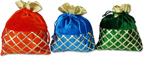 Shagun Velvet Lace Potli Bags Pack Of 10