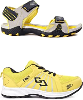 Bacca Bucci FW16 Sports Shoes + Floaters Footwear Combo -Black & Yellow Combo