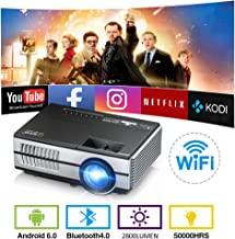 $152 » Wireless WiFi Bluetooth Pico Mini Projector 2800 lumen Portable LED LCD Projector Android 6.0 Video Proyector Airplay Miracast Support HD 1080P with HDMI USB VGA AV Speaker Home Theater Outdoor Movie