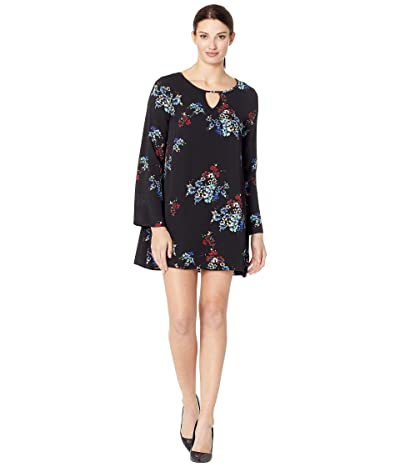 American Rose Penny Long Sleeve Keyhole Floral Dress (Black/Multi) Women