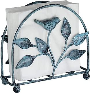 Cast Iron Bird & Tree Classic Napkin Holder/Tabletop Freestanding Tissue Dispenser, Turquoise
