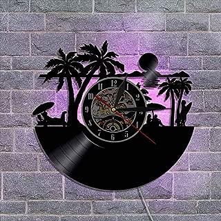 常夜灯リモコンビニールレコード壁掛け時計 クリエイティブウォールデコレーションギフト 30cm,A