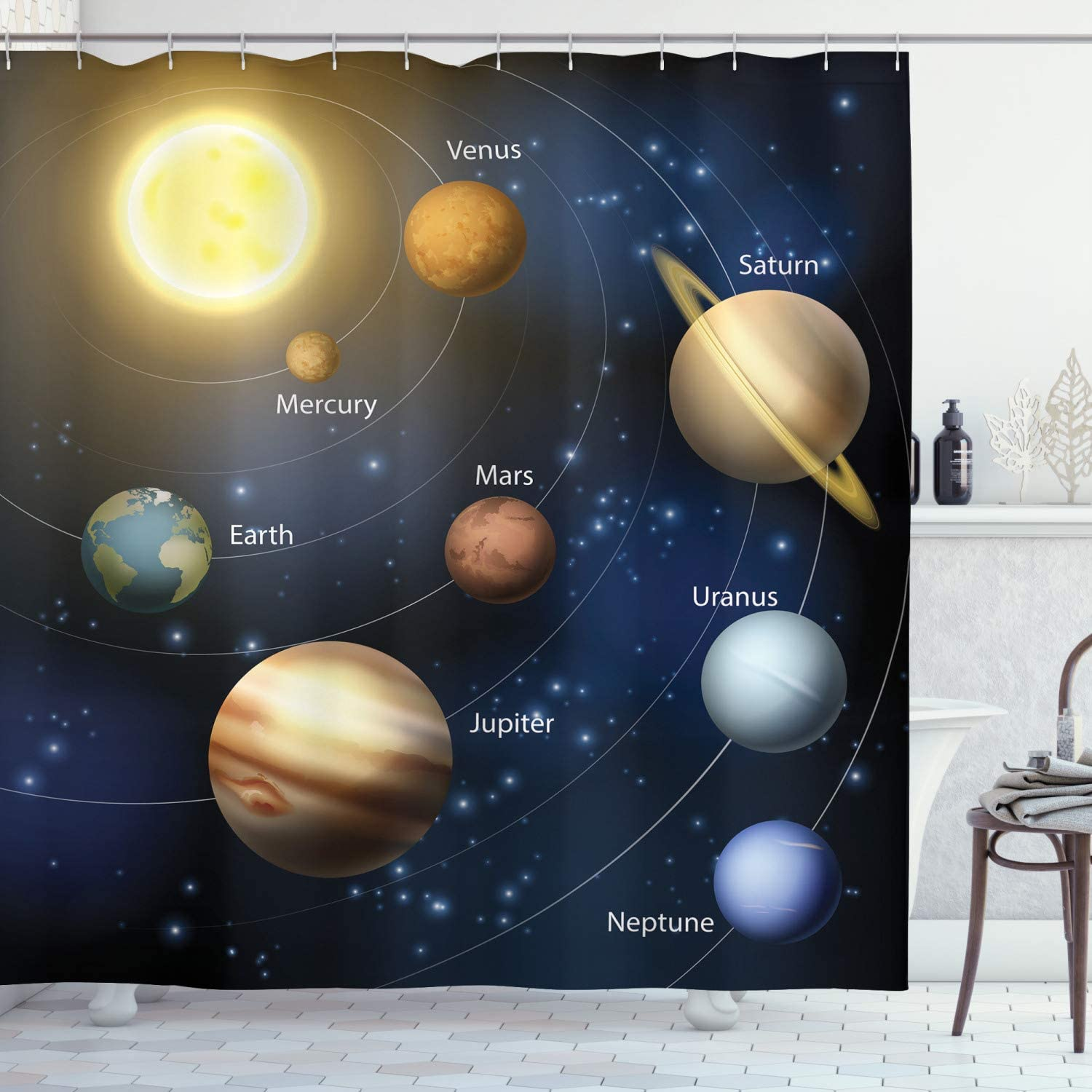 Details about  /Nebula Shower Curtain Cosmic Journey Space Print for Bathroom