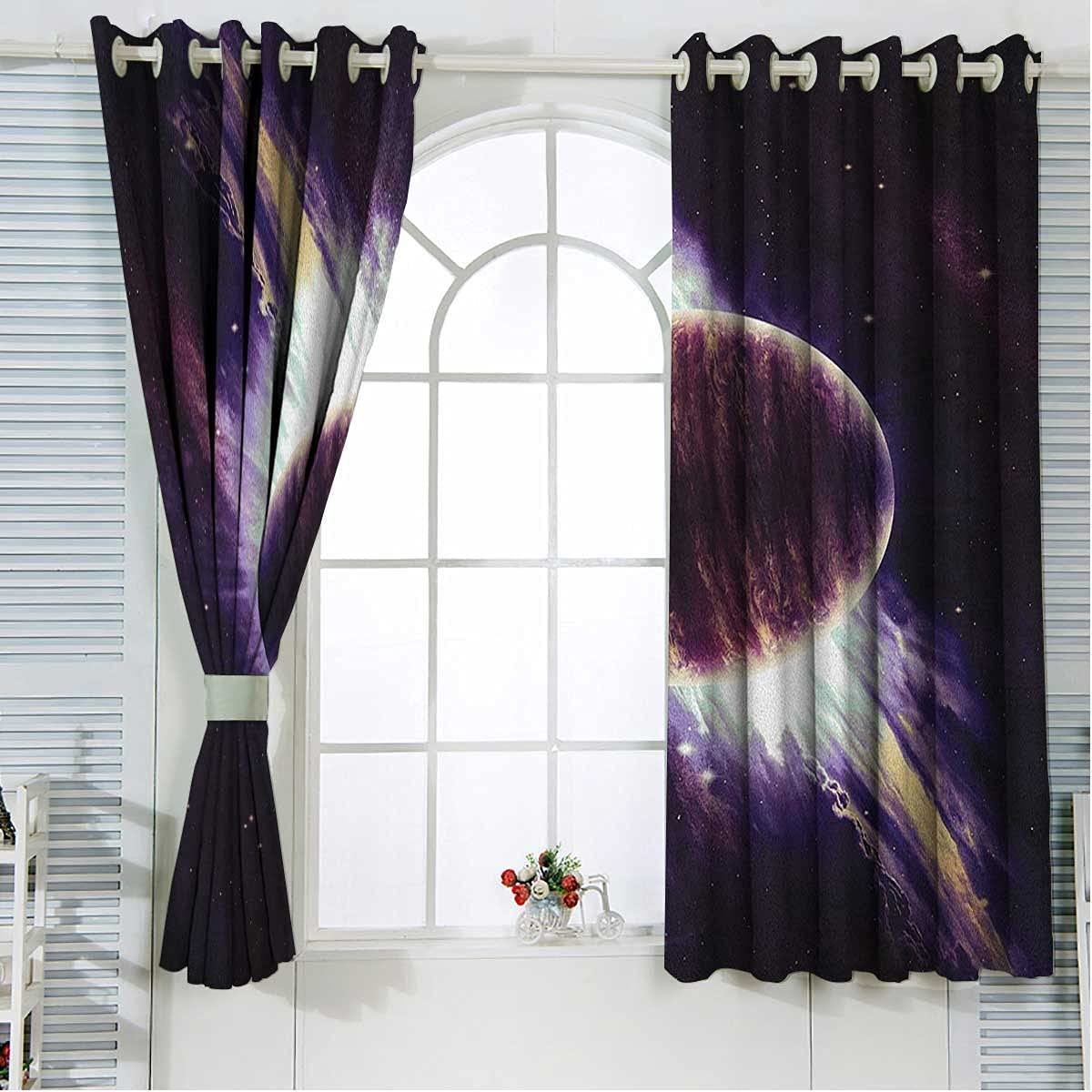 Brand Cheap Sale Venue Gorgeous Galaxy Small Curtains for Windows Black 72 Inches Purple Length