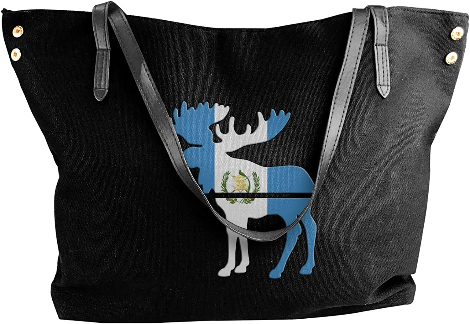Moose Guatemala Flag Women'S Recreation Canvas Handbag For Travel Work Bag