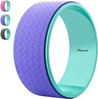 Reehut Ruota Premium per Yoga 32cm x 12.7cm Progettata per Posizioni Yoga Dharma, per Lo Stretching e per Migliorare Le Posizioni ad Arco Durante Gli Esercizi