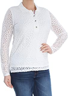 Women's Long Sleeve Lace Polo Top