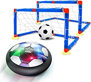 QDH Hover Soccer 6-in-1 Set, Rechargeable Air Soccer with LED Light and Soft Foam Bumpers Air Soccer Hover Ball with 2 Goa...