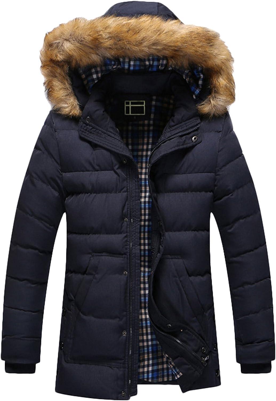 Youhan Men's Fitted Full Length Hooded Parka Coat