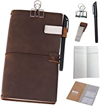 Påfyllningsbar läderdagbok resenärers anteckningsbok – 8,5 x 4,5 resedagbok med 5 inlägg + pennhållare och pärmmklämma, st...