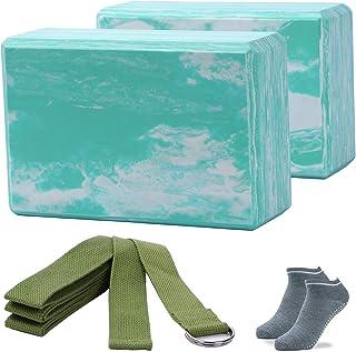 ADRIMER Yoga Blocks 2 Pack with Yoga Strap, High Density Lightweight EVA Foam Block for Yoga, Pilates, Meditation - Provid...