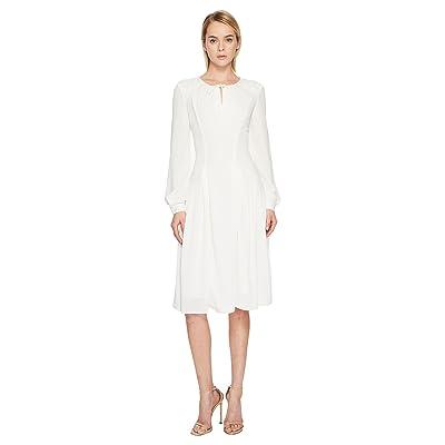 Zac Posen Solid Crepe Long Sleeve Dress (White) Women