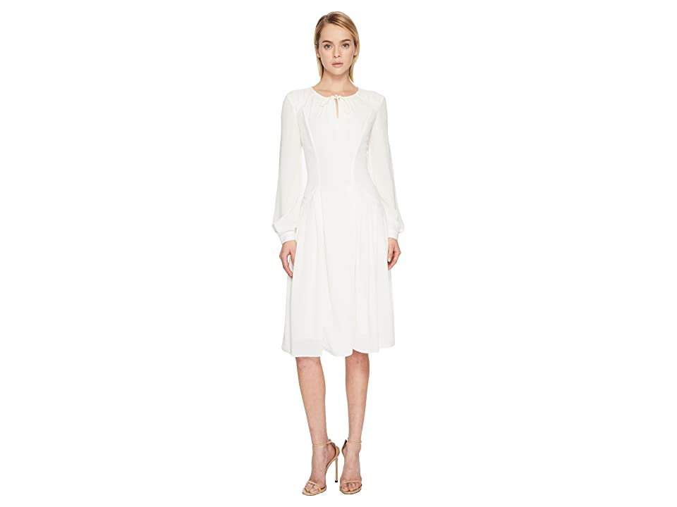 Zac Posen Solid Crepe Long Sleeve Dress (White) Women