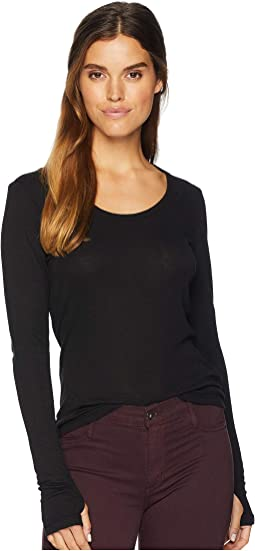 1X1 Slub Long Sleeve Scoop Neck Top with Thumbholes