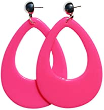Neon Nation Circular Oval Earring w/Silver Top 1980s Costume Party