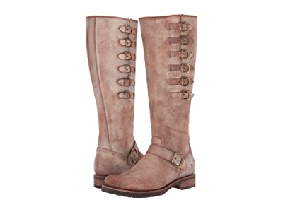 Frye Veronica Belted Tall (Chocolate Waxed Vintage Suede) Women