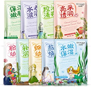 Face Mask Plant Extracts Aloe Collagen Essence Facial Mask Deep Moisturizing Firming Oil Control Anti-Aging Shrink Pores Cosmetics Whitening Brighten Face Mask Skin Care (9 Pieces)