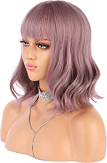eNilecor Purple Wig Short Colorful Wavy Bob Wigs with Air Bangs 14