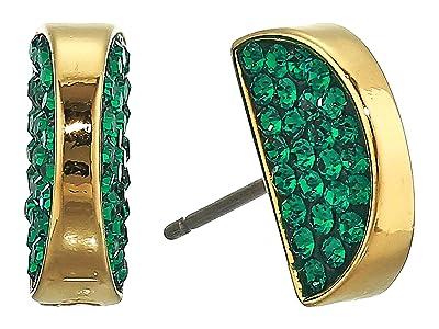 Kate Spade New York Sliced Scallops Pave Studs Earrings (Emerald) Earring