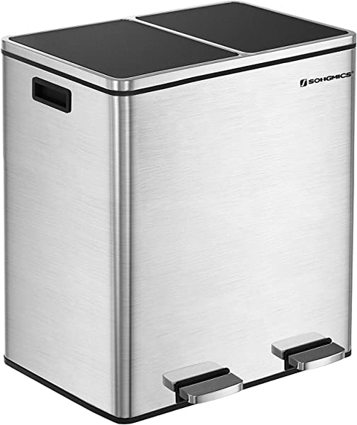 SONGMICS 16 Gallon Step Trash Can Double Recycle Pedal Bin 2 X 30L Garbage Bin With Plastic Inner Buckets And Carry Handles Fingerprint Proof Stainless Steel Slow Close ULTB60NL