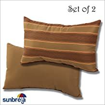 Comfort Classics Inc. Set of 2-22x12x4 Sunbrella Indoor/Outdoor Fabrics Lumbar Pillows in Davidson Redwood/Cocoa