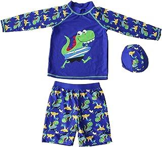 Little Boys Long Sleeve Dinosaur Swimsuit Kids 3pcs Swimwear UV Sun Protection Rash Guards UPF 50+