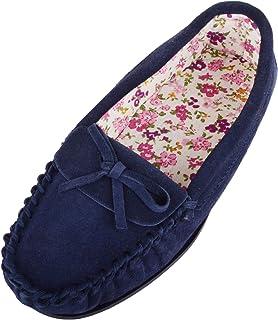 SNUGRUGS Mocassins/chaussons en daim doux avec doublure en coton pour femme