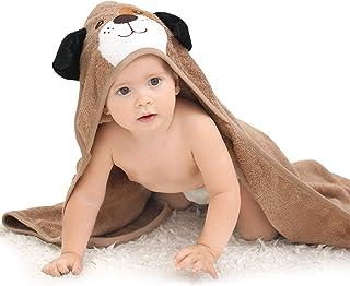 """حوله های کودک کلاه دار بامبو Touchat ، حوله های حمام کودک فوق العاده نرم و ضد حساسیت با کلاه برای کودک نوپای نوزاد ، حوله های بزرگ و جاذب نوزاد پسر بچه (توله سگ ، 35.1 """"x 35.1"""")"""