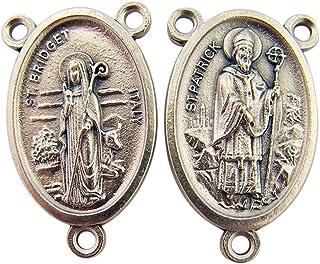 Lumen Mundi L&M Silver Toned Base Saint Patrick with St Bridget Rosary Centerpiece Medal, 1 Inch
