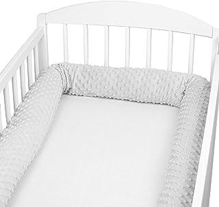 Bettschlange baby Nestchenschlange Bettrolle - Bettumrandung Babybettschlange Babybett umrandungen Babynestchen für Kinderbett Grau Minky, 300 cm