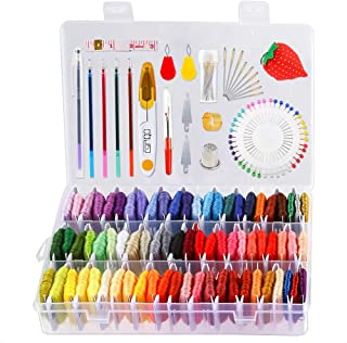 Caydo 158 Pieces Embroidery Floss with Organizer Box, 72 Color Embroidery Threads and Cross Stitch Tool Kits for Friendship Bracelet String Making