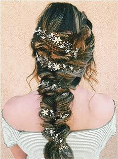 SWEETV Pearl Silver Hair Vine - Braided Wedding Headband Bohemian Bridal Headpiece - 28.5 inch/72 cm Extra Long Crystal Hair Accessories for Brides Bridesmaids