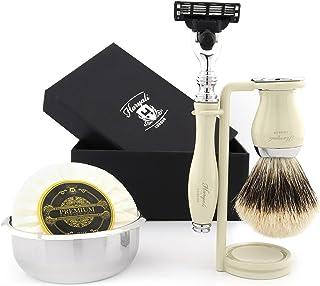 3-krawędziowy zestaw golarek do golenia z czystą szczoteczką do golenia, stojak do golenia, mydło do golenia i miska do go...