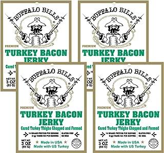 Buffalo Bills 3oz Premium Turkey Bacon Jerky 4-Pack (real wood smoked - gluten free and no MSG)
