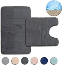 FRESHMINT Bath Mat Set, Large Size 32 by 20, Contoured Toilet Bathroom Rugs Coral Fleece Thick Memory Foam Padded, Super Absorbent Bath Rug, Soft, Non-Slip, Super Cozy Velvet Floor Mat, Charcoal