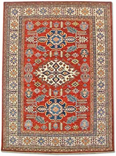 Pak Persian Rugs Traditional Afghan Handmade Kazak Rug, Wool, Burgundy/Red, 5' x 6' 9