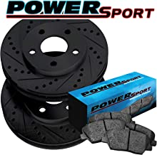 Fit 2013-2015 Honda Accord Front Black Drill Slot Brake Rotors+Ceramic Brake Pad