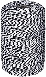 656 Feet Black and White Twine,Cotton Baker's Twine Cotton Cord Crafts Gift Twine String for Christmas Holiday
